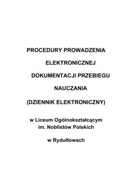 PROCEDURY PROWADZENIA ELEKTRONICZNEJ