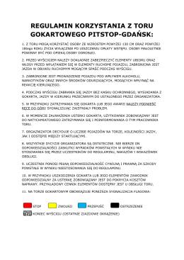 Regulamin Toru Gokartowego Pitstop