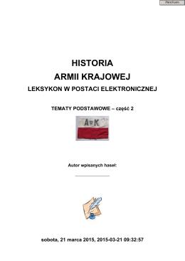 HISTORIA ARMII KRAJOWEJ