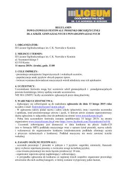 regulamin ii międzyszkolnego konkursu piosenki angielskiej