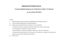 PROGRAM WYCHOWAWCZY Gimnazjum nr 9 im