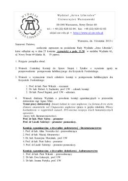 Warszawa, dn. 9 listopada 2012 r. Szanowni Państwo, serdecznie