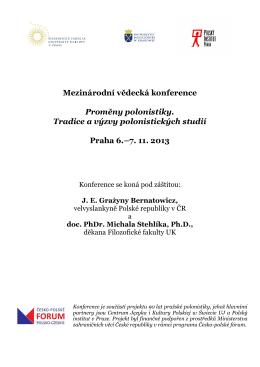 Program konferencji - Praga 6–7. 11. 2013