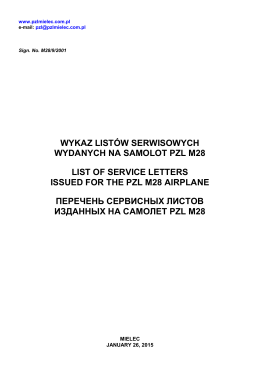 List of Service Letters issued for the PZL M18 Airplane