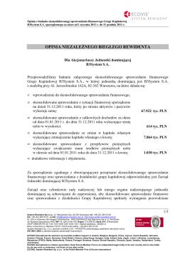 Opinia z Raportem z badania sprawozdania finansowego za rok 2012