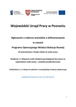 Ogłoszenie o naborze wniosków w ramach Poddziałania 1.1.1