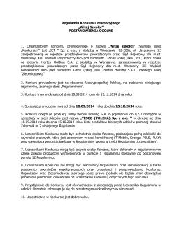 """Regulamin Konkursu Promocyjnego """"Witaj Szkoło"""