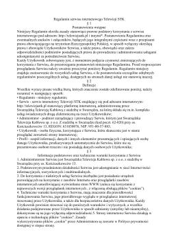 Regulamin serwisu internetowego Telewizji STK § 1