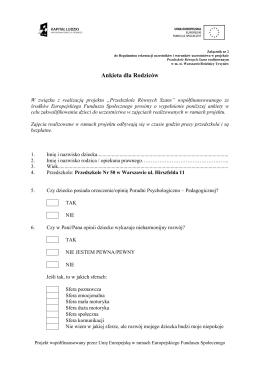 Ankieta dla Rodziców - Publiczne Przedszkole Nr 50 w Warszawie