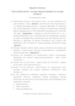 "Regulamin konkursu ""Activia Pełnie Ziarna"
