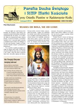 Listopad 2014 - Parafia pw Ducha Świętego i NMP Matki Kościoła w