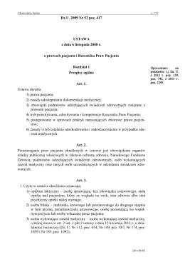 Ustawa z dnia 8 listopada 2008 roku o prawach pacjenta i