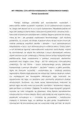MIT I PERSONA, CZYLI ARTYSTA W BUDUARACH I