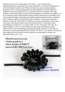 Dławik koncentryczny, balun prądowy, RF-choke - jest to