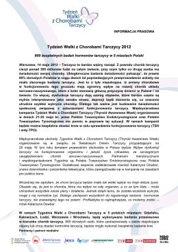 Tydzień Walki z Chorobami Tarczycy – informacja prasowa