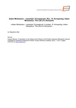 Adam Mickiewicz – romantyk i Europejczyk. Rec.: R. Koropeckyj