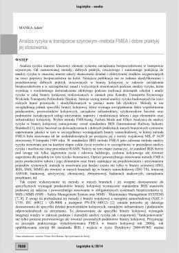 Analiza ryzyka w transporcie szynowym–metoda FMEA i dobre
