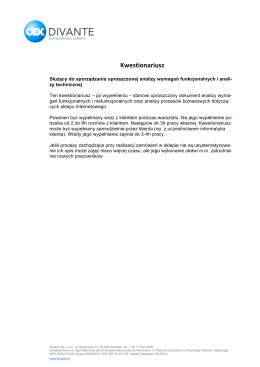 KWESTIONARIUSZ – Analiza techniczna, migracji i