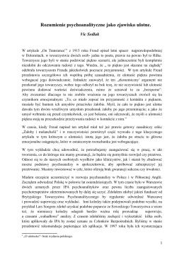 Victor Sedlak, Rozumienie psychoanlityczne