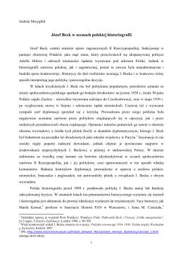 Józef Beck w ocenach polskiej historiografii