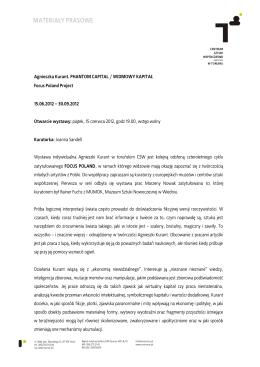 CSW w Toruniu_Tekst kuratorski_Agnieszka Kurant. Widmowy kapital