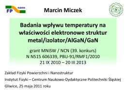 GaN, AlGaN - Zakład Fizyki Powierzchni i Nanostruktur