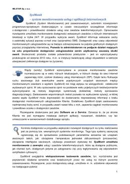 SysMonit – system monitorowania usług i aplikacji