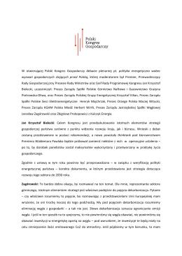 W otwierającej Polski Kongres Gospodarczy debacie plenarnej pt
