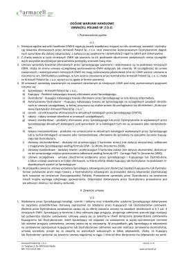 OGÓLNE WARUNKI HANDLOWE ARMACELL POLAND SP. Z O.O.
