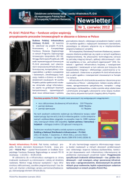 Newsletter PLGrid Plus - pierwsze wydanie - Infrastruktura PL-Grid