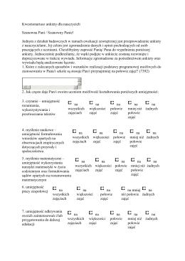 Kwestionariusz ankiety dla nauczycieli Szanowna Pani / Szanowny