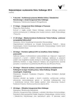 Najważniejsze wydarzenia Roku Kolberga 2014