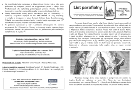 Gazetka.01.03.2015 - Parafia p.w. Wniebowzięcia NMP w
