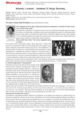 Wywiady z osobami - świadkami II Wojny Światowej
