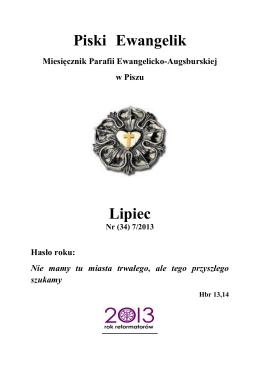 Nr (34) 07/2013 - lipiec - PISZ - Kościół Ewangelicko