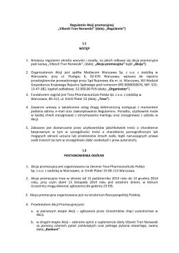 """Regulamin Akcji promocyjnej """"Vibovit Tran Norweski"""" (dalej"""