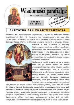 CHRYSTUS PAN ZMARTWYCHWSTA Ł - Polska Misja Katolicka w
