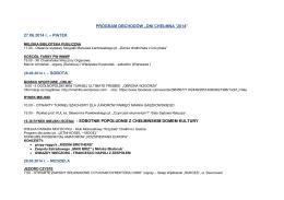 """PROGRAM OBCHODÓW """"DNI CHEŁMNA `2014"""" 27.06.2014 r"""