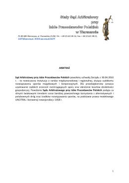 ARBITRAŻ Sąd Arbitrażowy przy Izbie Pracodawców Polskich