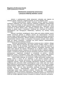 Budowanie pozytywnej samooceny-Magdalena Królikowska