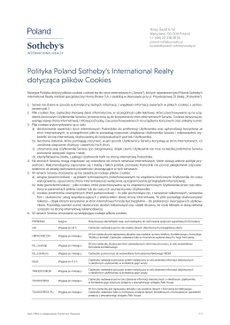 Polityki Cookies - Poland Sotheby`s International Realty