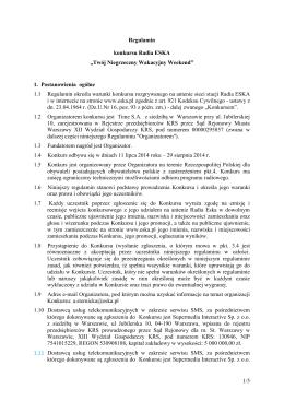 """1/5 Regulamin konkursu Radia ESKA """"Twój"""