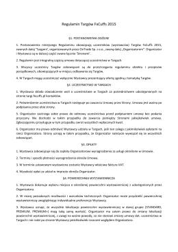 Regulamin Targów FxCuffs 2015