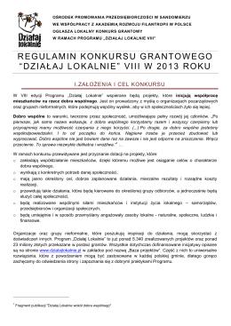"""regulamin konkursu grantowego """"działaj lokalnie"""" viii w"""