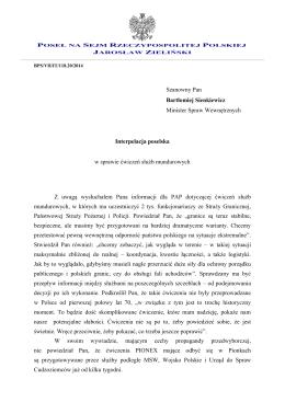 Szanowny Pan Bartłomiej Sienkiewicz Minister Spraw