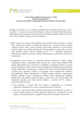 Uchwała Rady Młodych Naukowców nr 7/2013 z dnia 22 września