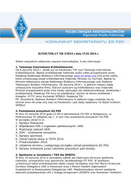 Komunikat Sekretariatu ZG PZK