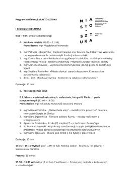 Program konferencji MIASTO-SZTUKA I dzień (piątek