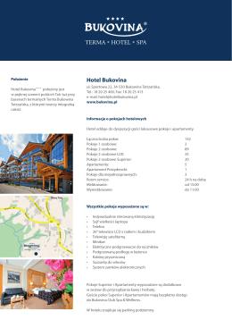 """Hotel Bukovina Fact Sheet"""