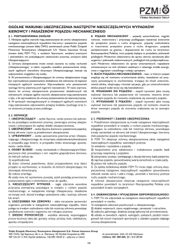 Ogólne Warunki Ubezpieczenia - Agencja Ubezpieczeniowa Wartur